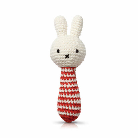 Miffy Rattle In Red Stripes by Miffy Handmade - Junior Edition