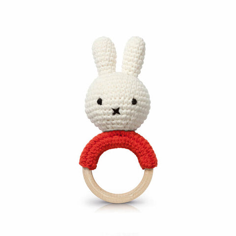 Miffy Teething Ring Rattle In Red by Miffy Handmade - Junior Edition