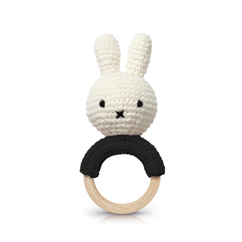 Miffy Teething Ring Rattle In Black by Miffy Handmade - Junior Edition