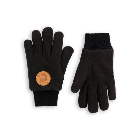 Fleece Gloves in Black by Mini Rodini