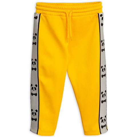 Panda Track Pants in Yellow by Mini Rodini - Junior Edition