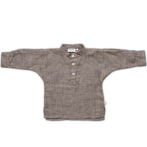 Field Grandad Shirt in Black Houndstooth by Monty & Co - Junior Edition