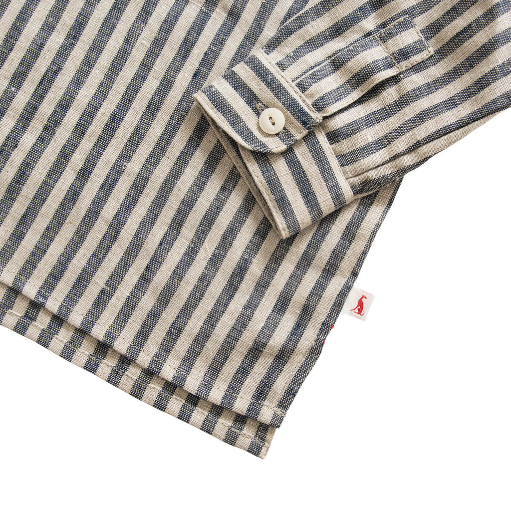 Field Grandad Shirt in Butchers Stripe by Monty & Co - Junior Edition
