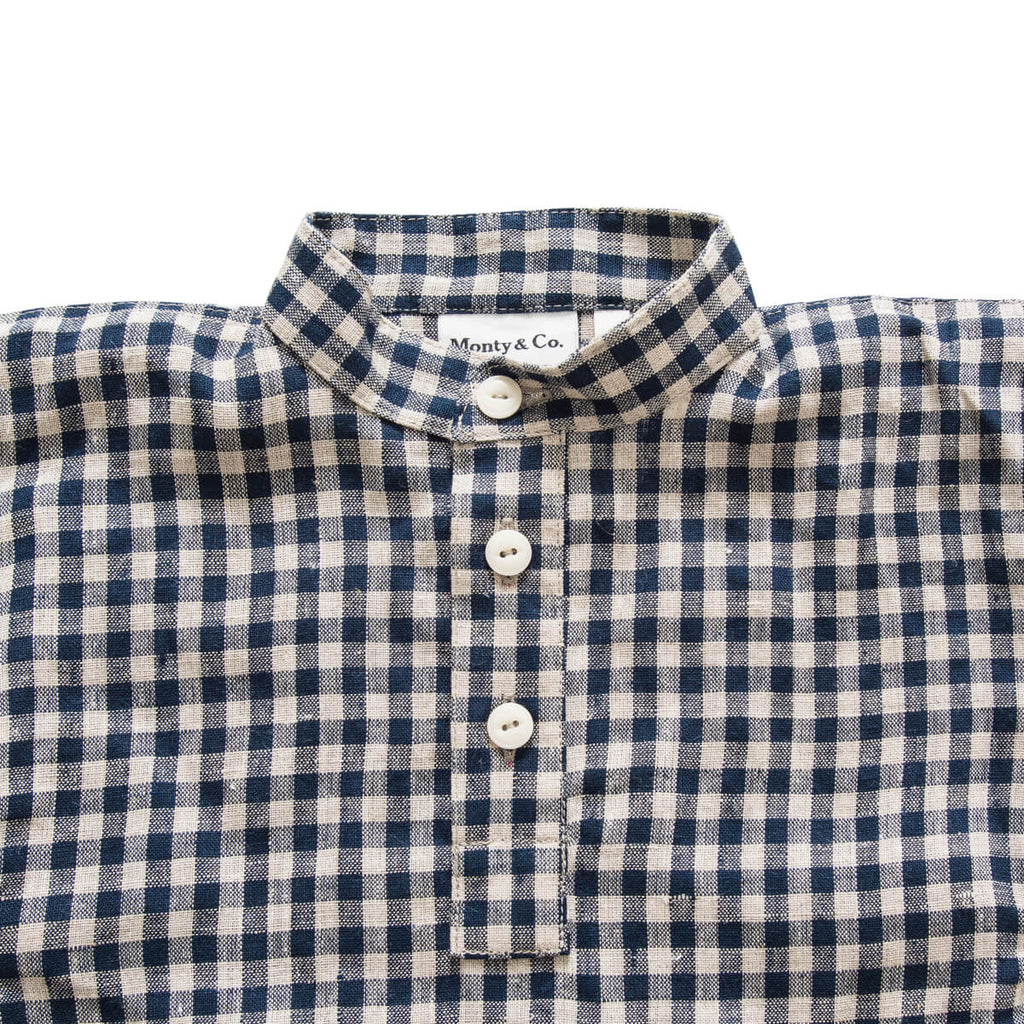 Field Grandad Shirt in Navy Gingham by Monty & Co - Junior Edition