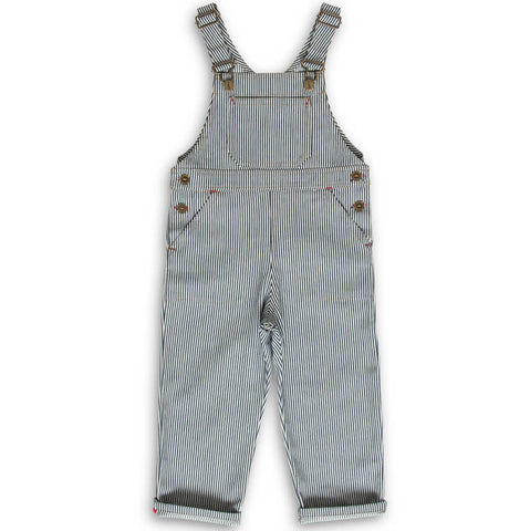 Porter Dungarees in Indigo Stripe by Monty & Co - Junior Edition