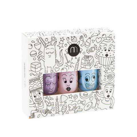 Nail Varnish Party 3 Pack - Pink, Purple and Blue - by Nailmatic Kids - Junior Edition
