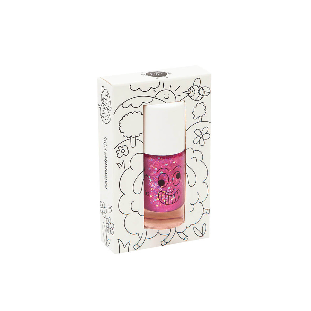 Nail Polish in Sheepy (Raspberry Glitter) by Nailmatic Kids - Junior Edition