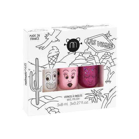 Nail Varnish Las Vegas 3 Pack - Pink Purple and Glitter - by Nailmatic Kids