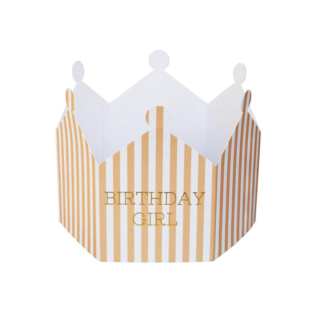 Birthday Girl Striped Crown Greetings Card by Nancy & Betty Studio - Junior Edition
