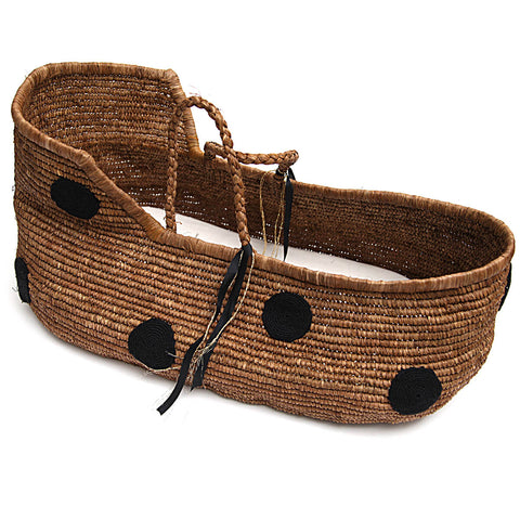 Handmade Moses Basket in Black Dot by Noro - Junior Edition
