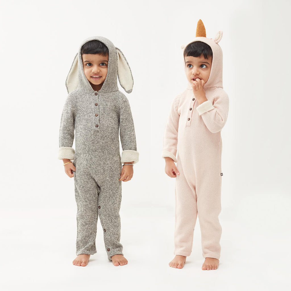 Bunny Alpaca Knit Hooded Jumpsuit in Light Grey by Oeuf NYC - Junior Edition
