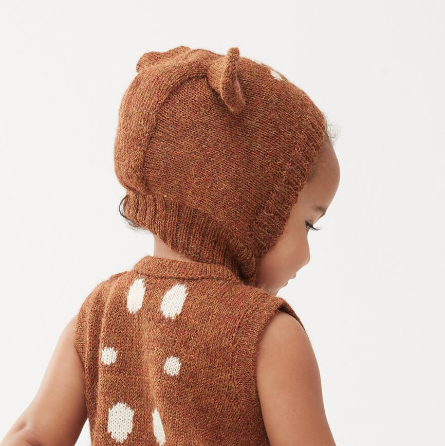 Alpaca Knit Bambi Hat In Hazelnut by Oeuf NYC - Junior Edition