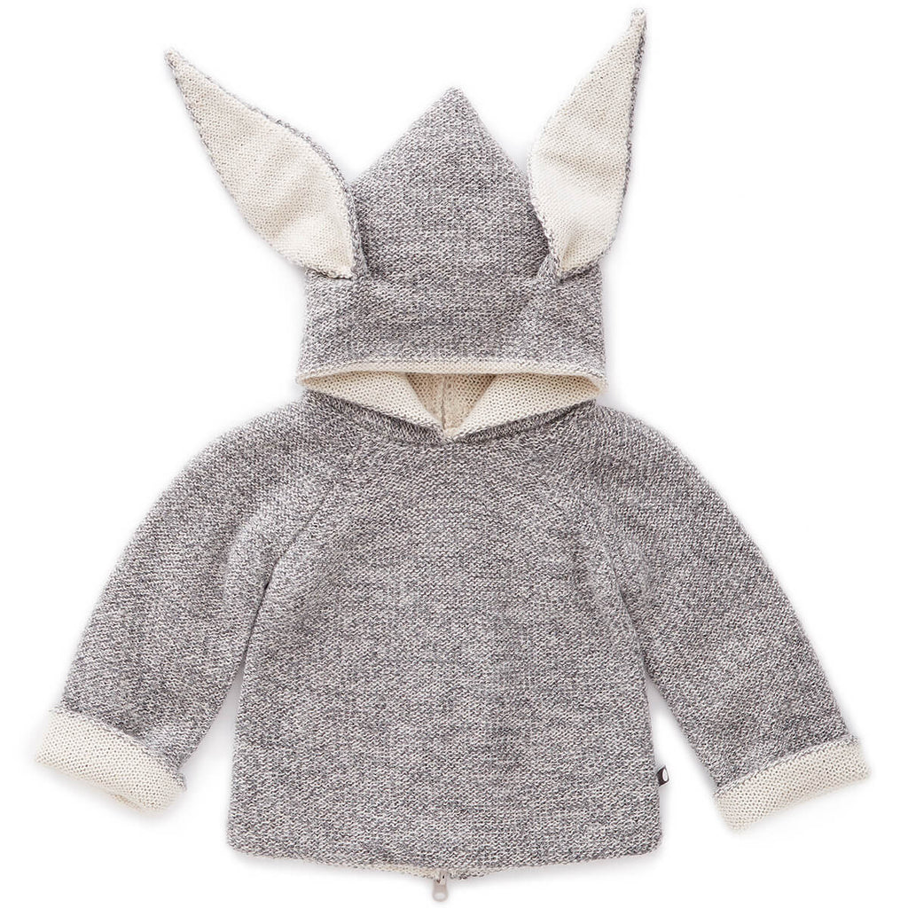 Bunny Alpaca Knit Reversible Hooded Top in Light Grey by Oeuf NYC - Junior Edition
