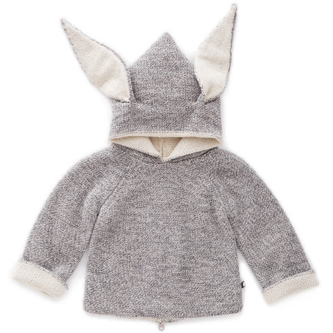 Bunny Alpaca Knit Reversible Hooded Top in Light Grey by Oeuf NYC