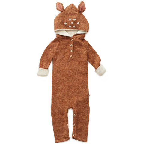 Bambi Alpaca Knit Hooded Jumpsuit in Hazelnut by Oeuf NYC - Junior Edition