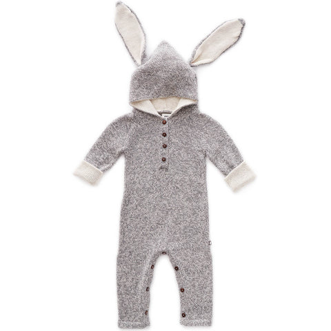 Bunny Alpaca Knit Hooded Jumpsuit in Light Grey by Oeuf NYC