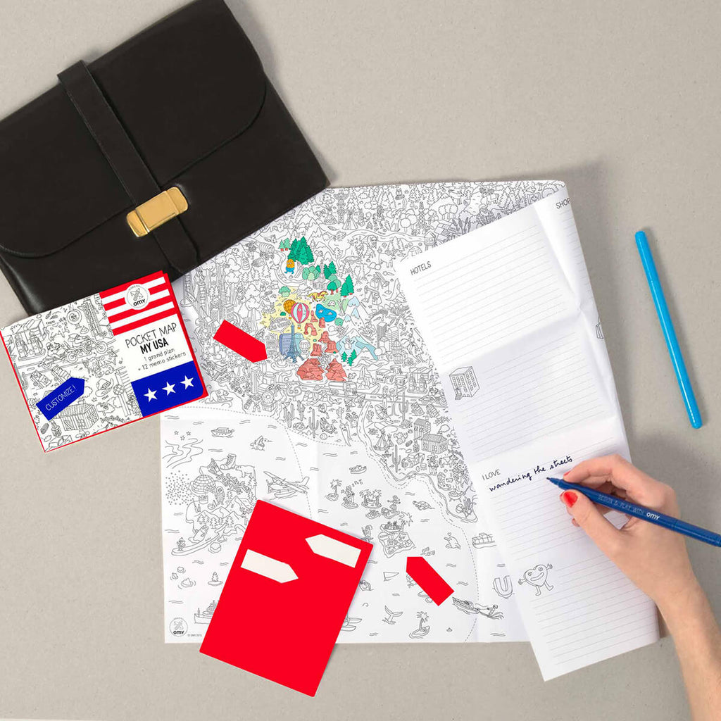 USA Colouring Pocket Map by OMY - Junior Edition