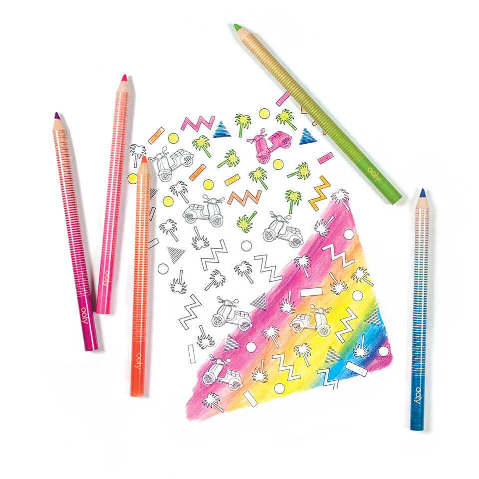 Jumbo Brights Neon Coloured Pencils by Ooly - Junior Edition