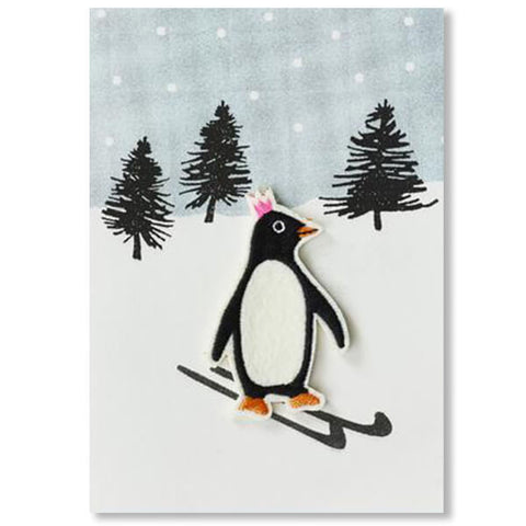 Penguin on Skis Iron On Patch Christmas Card by Petra Boase