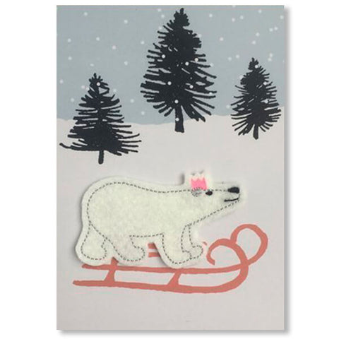 Polar Bear on Sledge Iron On Patch Christmas Card by Petra Boase