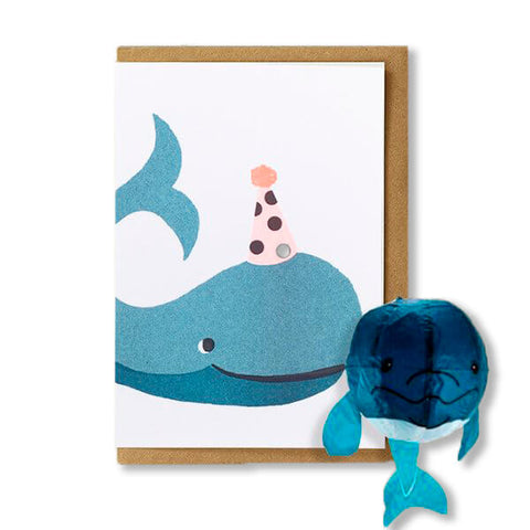 Whale Japanese Paper Balloon Greetings Card by Petra Boase