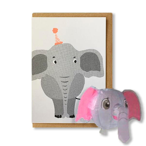 Elephant Japanese Paper Balloon Greetings Card by Petra Boase