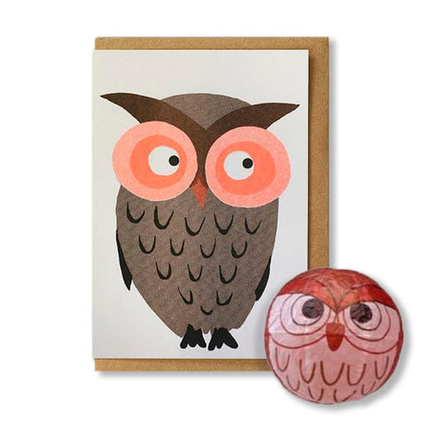 Owl Japanese Paper Balloon Greetings Card by Petra Boase
