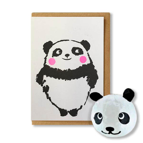Panda Japanese Paper Balloon Greetings Card by Petra Boase