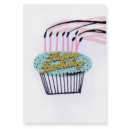 Birthday Cupcake Embroidered Word Greetings Card by Petra Boase
