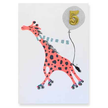Giraffe Embroidered Age Card by Petra Boase - Age 5 - Junior Edition