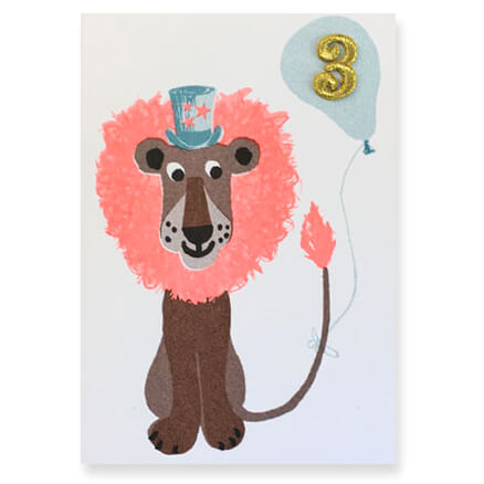 Lion Embroidered Age Card by Petra Boase - Age 3 - Junior Edition