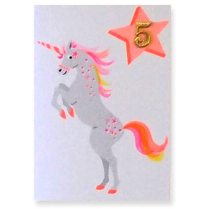 Unicorn Embroidered Age Card by Petra Boase - Available In Age 1 to 7