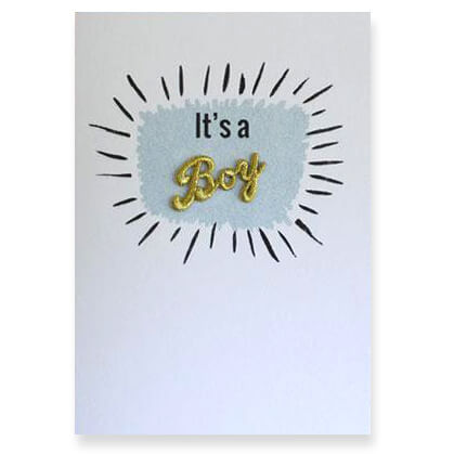 It's A Boy Embroidered Word Greetings Card by Petra Boase - Junior Edition