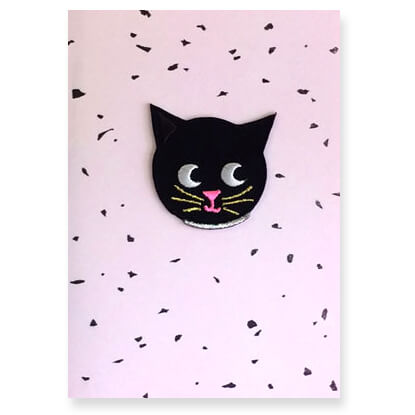 Cat Iron On Patch Greetings Card by Petra Boase