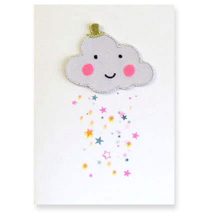 Cloud Iron On Patch Greetings Card by Petra Boase