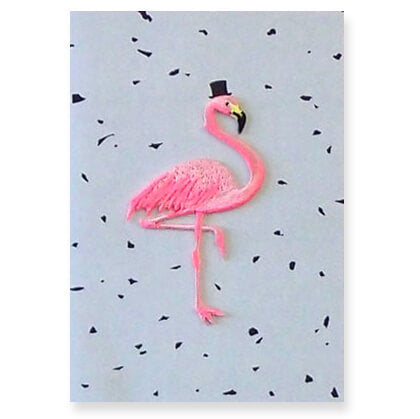 Flamingo Iron On Patch Greetings Card by Petra Boase