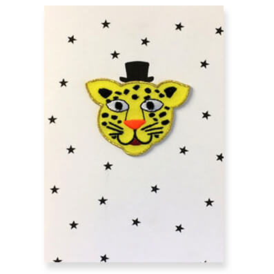 Leopard Iron On Patch Greetings Card by Petra Boase - Junior Edition