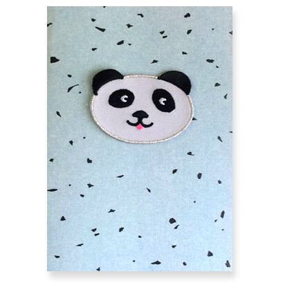 Panda Iron On Patch Greetings Card by Petra Boase - Junior Edition