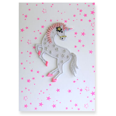 Unicorn Stars Iron On Patch Greetings Card by Petra Boase - Junior Edition