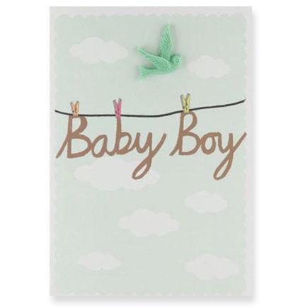 Baby Boy Resin Bird Greetings Card by Petra Boase - Junior Edition