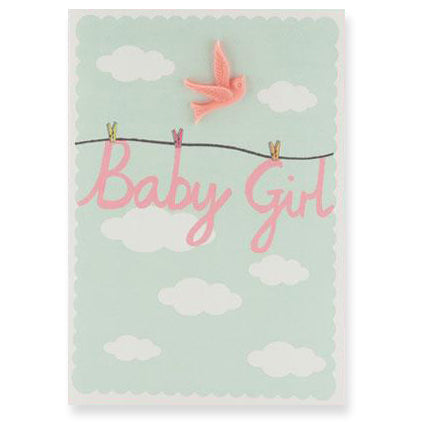 Baby Girl Resin Bird Greetings Card by Petra Boase - Junior Edition
