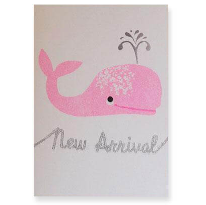 Pink Whale New Baby Greetings Card by Petra Boase - Junior Edition