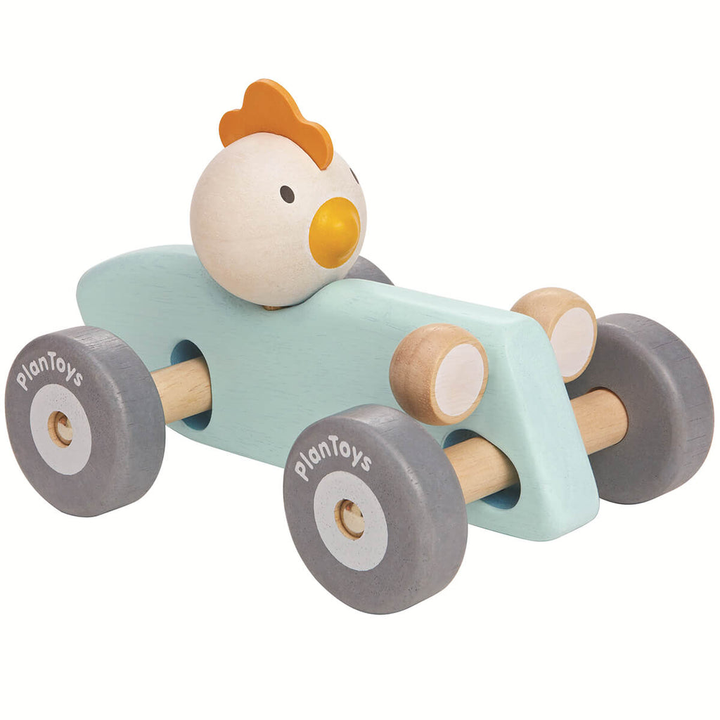 Chicken Racing Car in Mint by PlanToys - Junior Edition