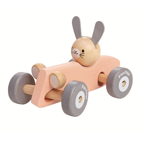Bunny Racing Car in Pink by PlanToys - Junior Edition