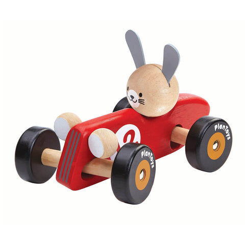 Rabbit Racing Car in Red by PlanToys - Junior Edition