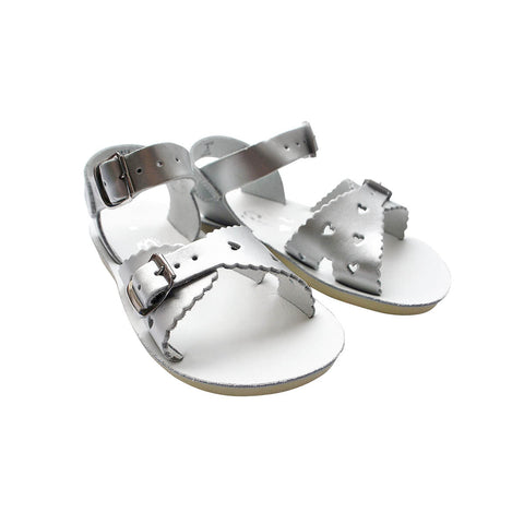 Sweetheart Sandals in Silver by Salt-Water