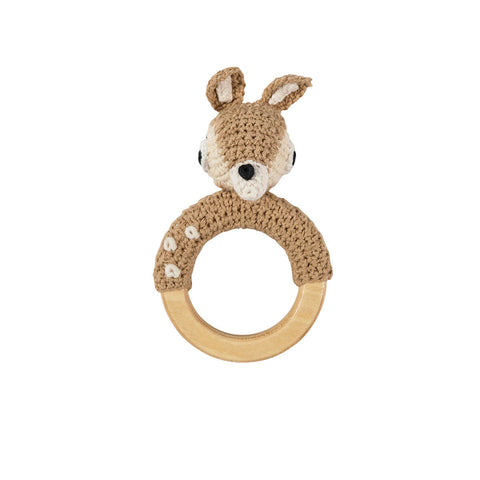 Deer Crochet Baby Rattle Ring by Sebra - Junior Edition