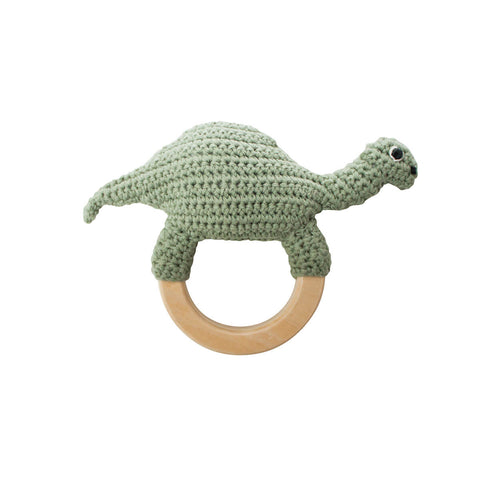 Dinosaur Crochet Baby Rattle Ring by Sebra - Junior Edition