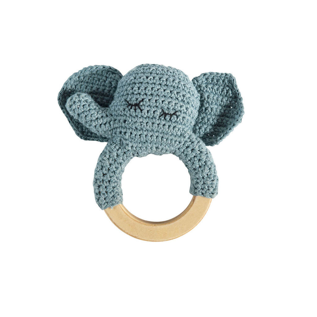 Elephant Crochet Baby Rattle Ring by Sebra - Junior Edition