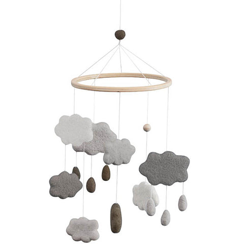 Clouds Felted Baby Mobile in Warm Grey by Sebra
